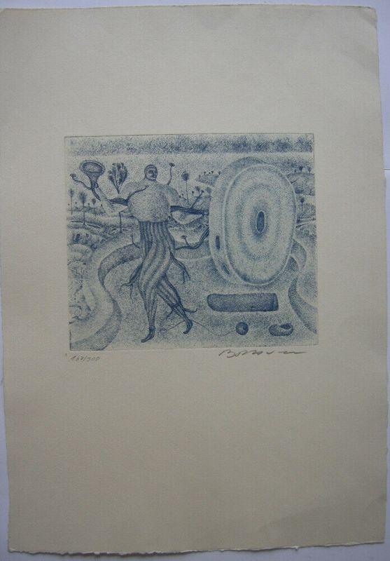 Arik Brauer (1929) Steinerne Trompete Steinorgel Orig. Radierung signiert 1968