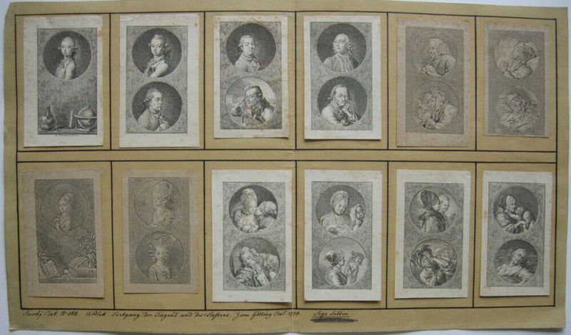 Daniel N. Chodowiecki (1726-1801) Fortgang Tugend Laster 12 Kupferstiche 1778