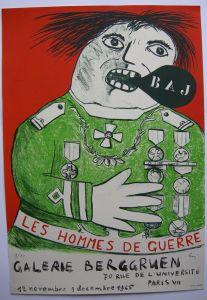 Enrico Baj (1924-2003) Hommes de Guerre Plakat Berggruen Orig Lithografie 1965