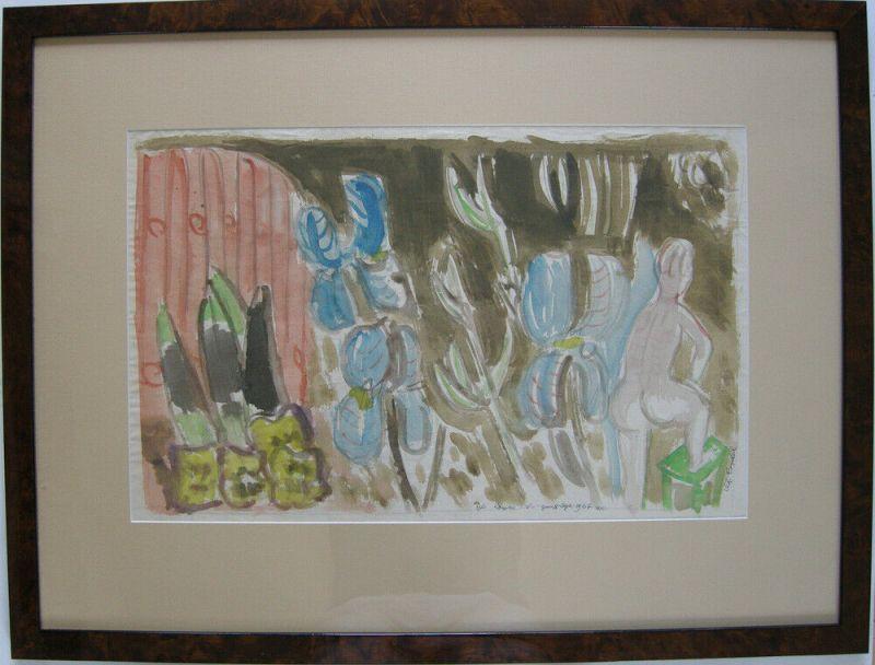 Charles Crodel (1894-1973) Stilleben mit Akt Orig Aquarell 1967 signiert Widmung