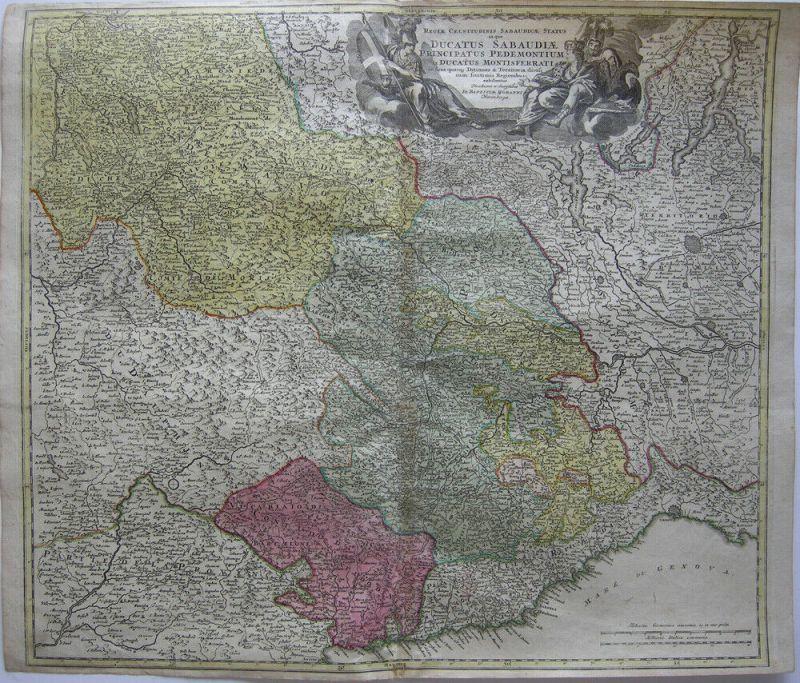 Italia Ducatus Sabaudiae Piemont Piemonte Orig. Kupferstichkarte Homann 1720