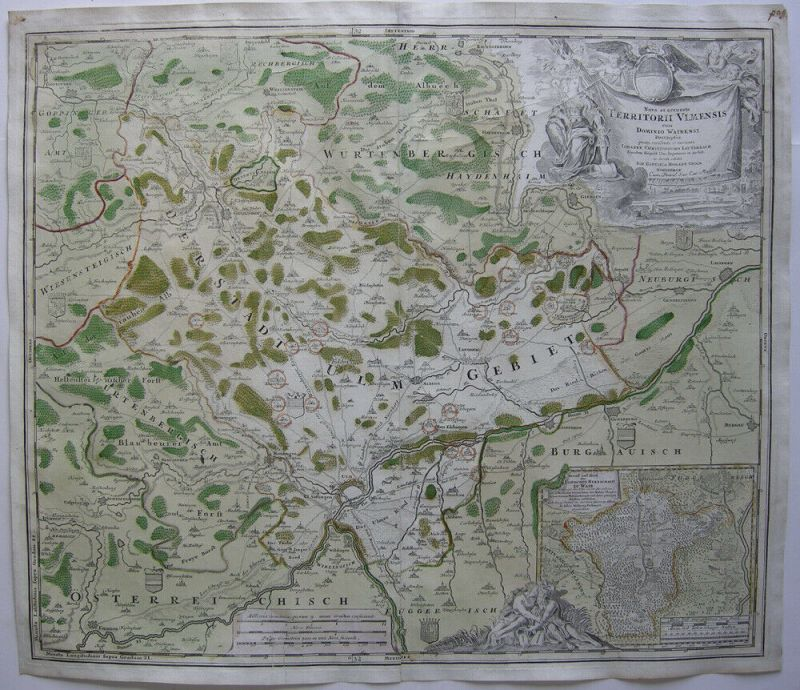 Ulm Wain Baden Württemberg altkolor Orig. Kupferstich Homann 1720