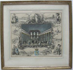 Wiesbaden Nassau Kursaal Randdarstellungen Orig. Farblithografie Hohbach 1836