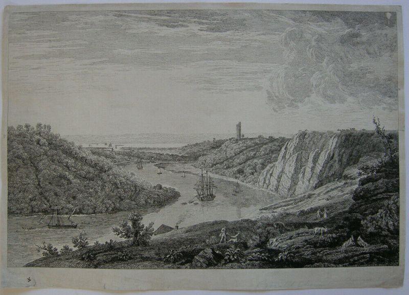 Jean B. C. Chatelain View Durdham Bristol River Avon Orig. Kupferstich 1756