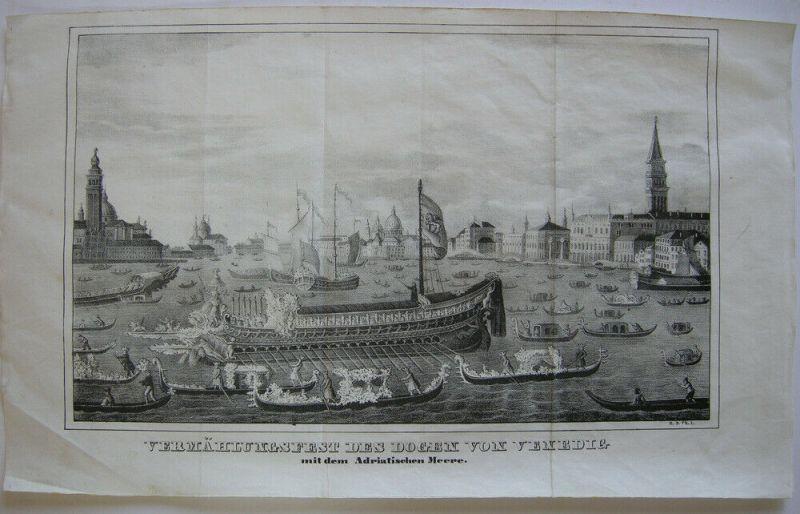 Venedig Venezia Vermählungsfest des Dogen Italia Orig Lithografie 1860 Adria