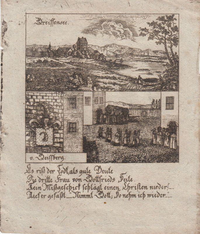Greifensee Zürich Schweiz Orig Kupferstich 1830 Wappen Zittauisches Tagebuch