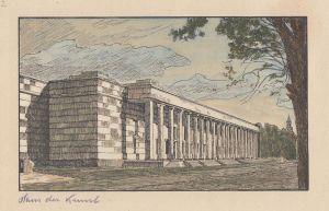 München Haus der Kunst kolor. Orig. Radierung 1945 Baumann Monacensia