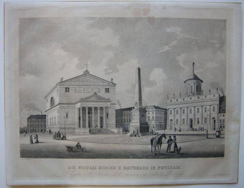 Portsdam Brandenburg Nicolai Kirche Rathaus Orig Aquatinta Schulin 1855