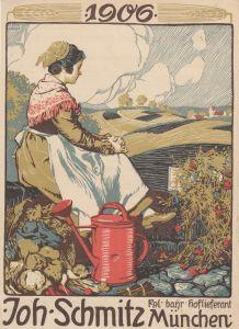 Hermann Bek-Gran (1869-1909) Gärtnerin Werbeblatt Orig Lithografie 1906