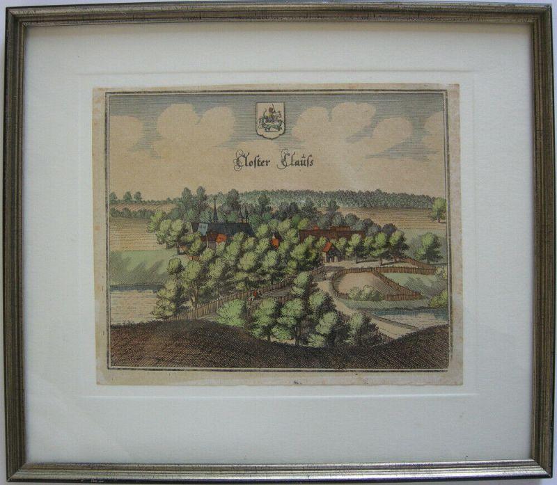 Kloster Clus Bad Gandersheim Niedersachsen altkolor Kupferstich Merian 1654