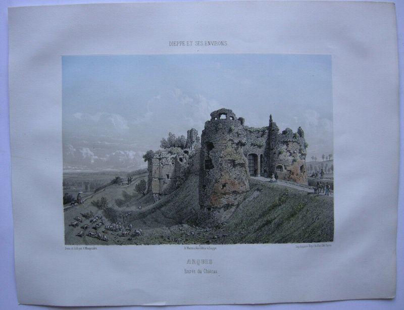 Arques Entrée du Chateau  kolor Orig. Lithografie Maugendre 1850 Normandie