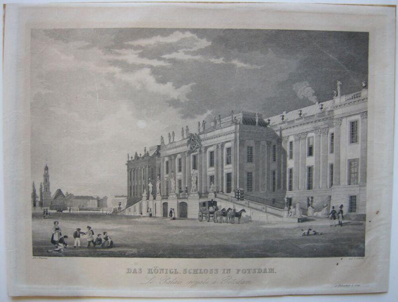 Potsdam Brandenburg Königliches Schloss Orig Aquatinta Schulin 1855