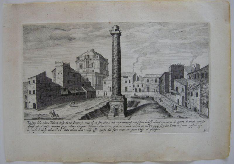 Colonna Trajana Trajanssäule Roma Italia Orig Kupferstich 1700