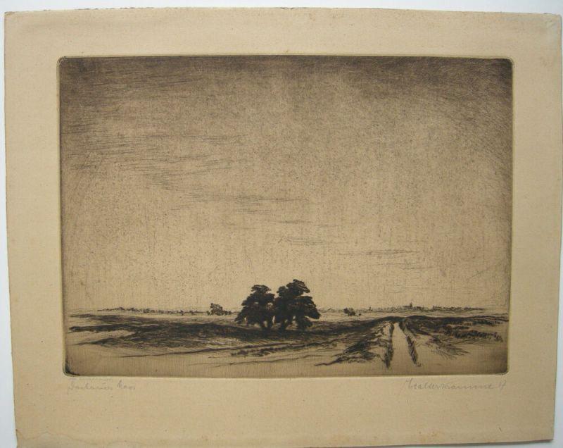 Walter Kramme (1888-1949) Dachauer Moor Orig. Radierung 1917 signiert Detmold
