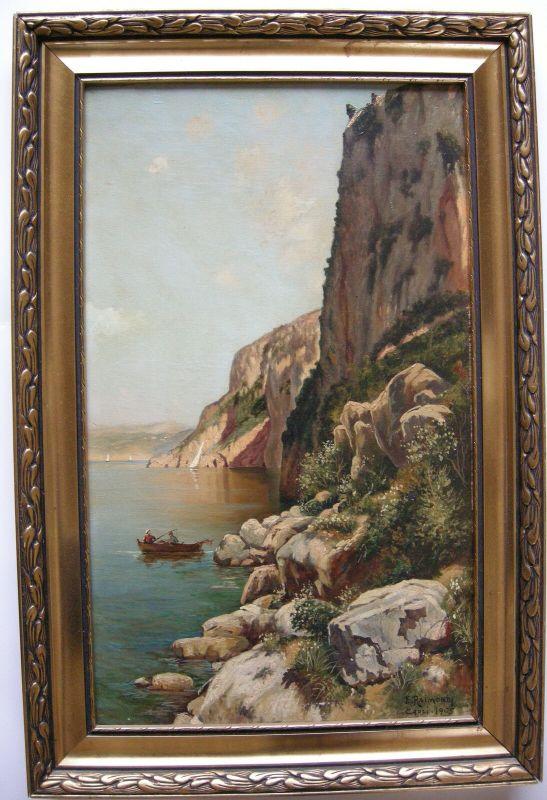 Edoardo Raimondi (1837-1919) Capri Steilküste Italia Öl auf Leinwand 1905 sign
