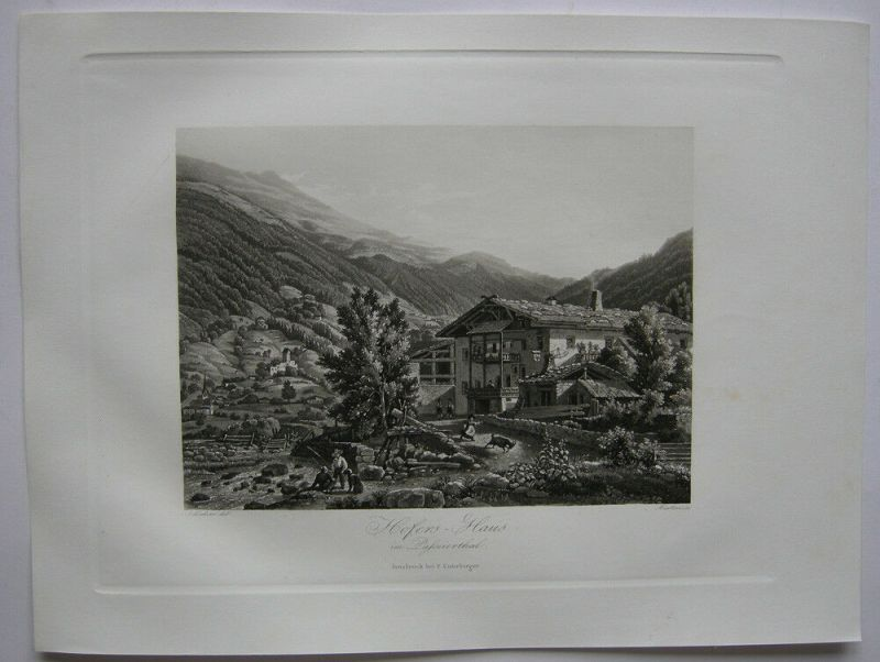 Hofer's Haus Passeier Tal Meran Trentino Italien Orig Aquatinta-Radierung 1840