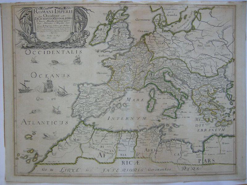 Römisches Reich Europa Nordafrika Orig. Kupferstichkarte N. Sanson 1637