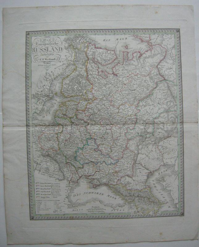 Das Europäische Russland Kolor Kupferstichkarte nach Weiland 1828 Russia