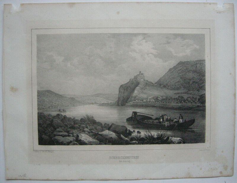 Aussig Usti nad Labem Tschechien Orig Lithographie Schreckenstein Cesky 1840