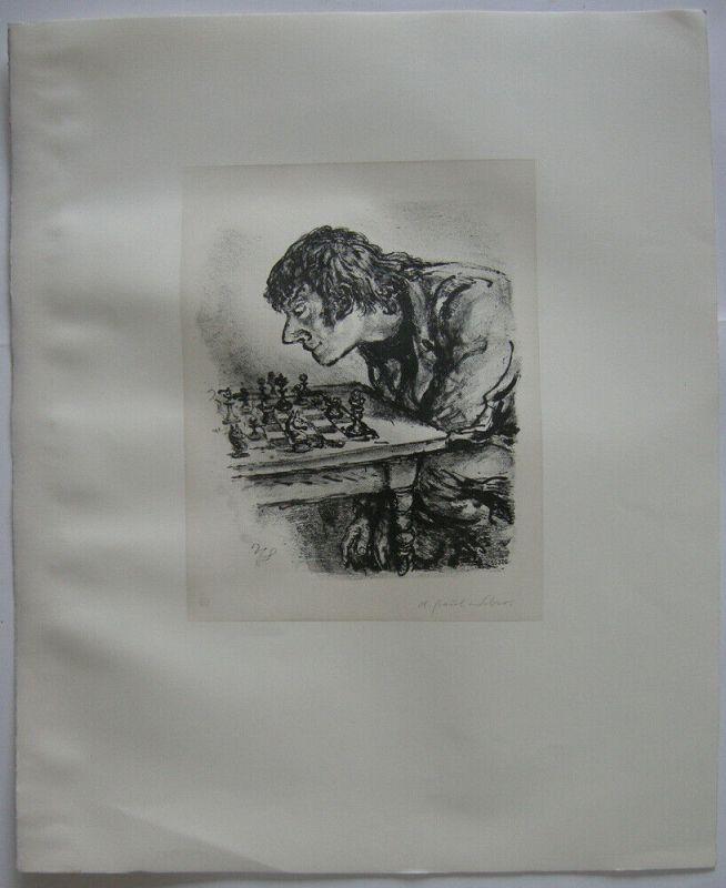 A. Paul Weber (1893-1980) Schachspieler Orig Lithografie 1960 signiert