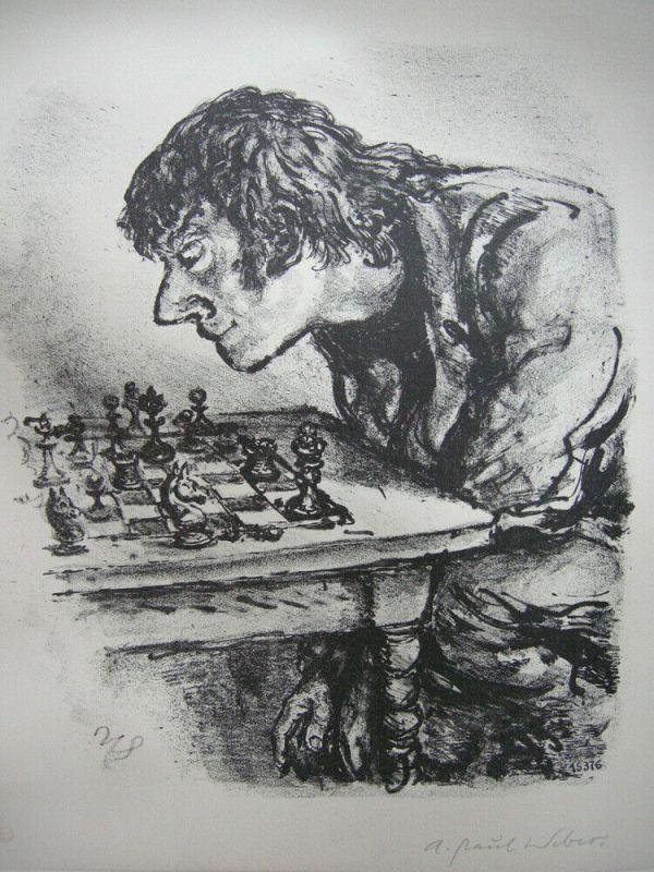 A. Paul Weber (1893-1980) Schachspieler Orig Lithografie 1960 signiert 1