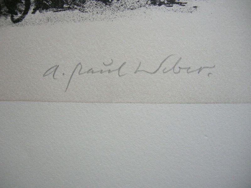 A. Paul Weber (1893-1980) Schachspieler Orig Lithografie 1960 signiert 2