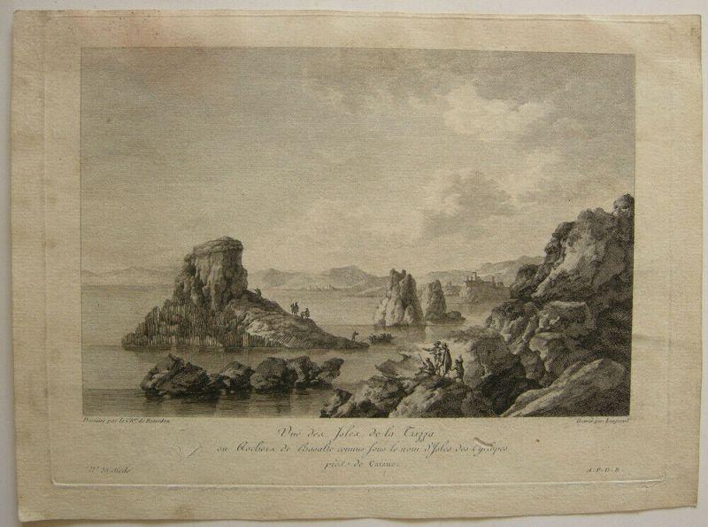 Isole dei Ciclopi Sicilia Trezza Zyklopeninseln Italia Orig Kupferstich 1780