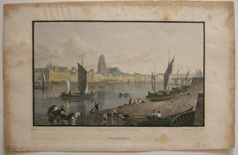 Frankfurt am Main Panorama kolor Orig Stahlstich Batty Le Keux 1825