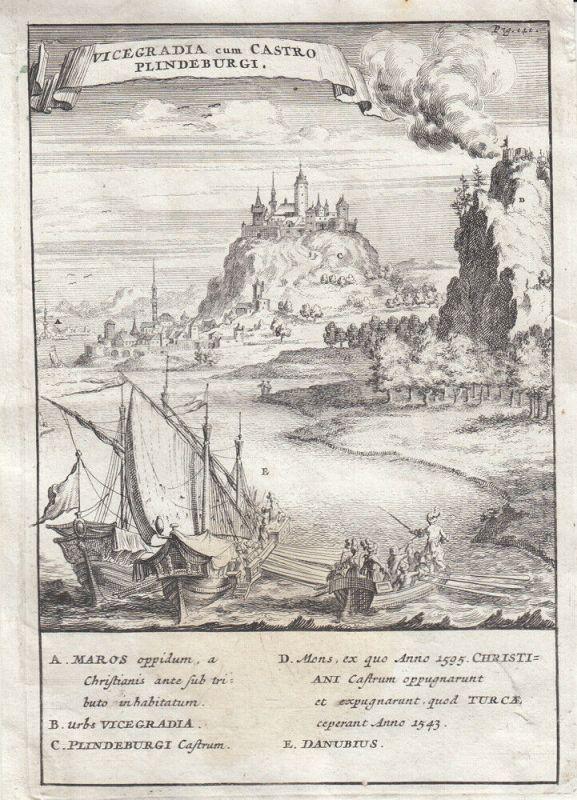 Visegrad und Plindenburg Ungarn Orig Kupferstich 1700