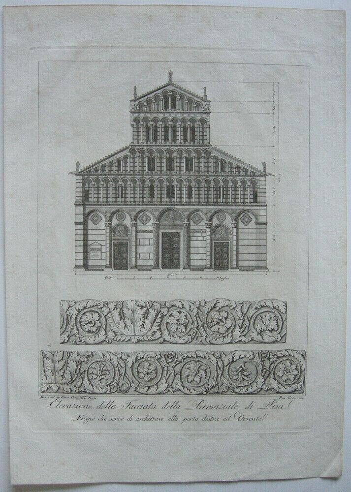Ranieri Grassi (XIX) Facciata Primaziale di Pisa Orig Kupferstich 1829 Italia