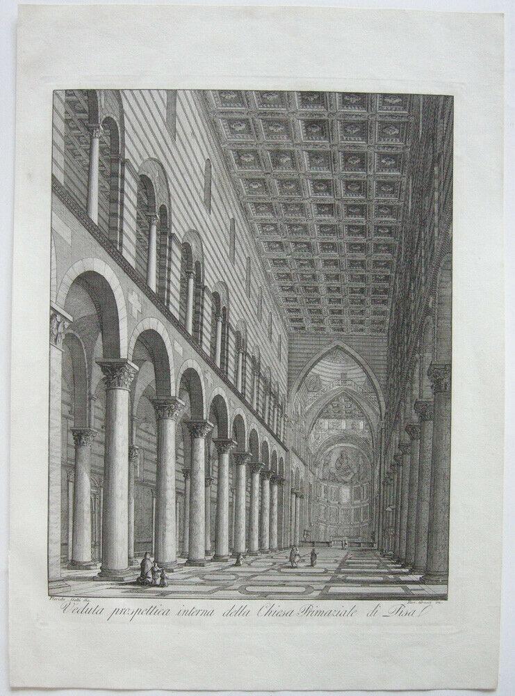 Ranieri Grassi (XIX) Chiesa Primaziale di Pisa Orig Kupferstich 1829 Italia