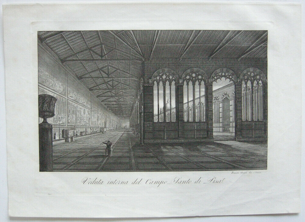 Ranieri Grassi (XIX) Interno Campo-Santo di Pisa Orig Kupferstich 1829 Italia