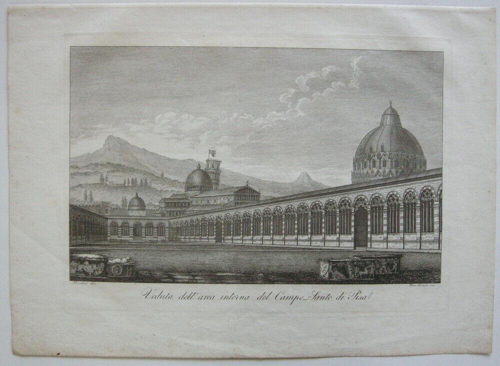 Ranieri Grassi (XIX) Campo-Santo di Pisa Orig Kupferstich 1829 Italia Italien