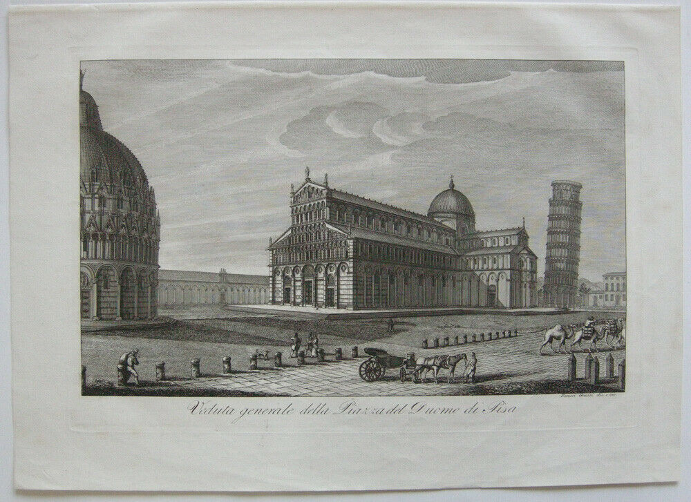 Ranieri Grassi (XIX) Piazza del Duomo di Pisa Orig Kupferstich 1829 Italia