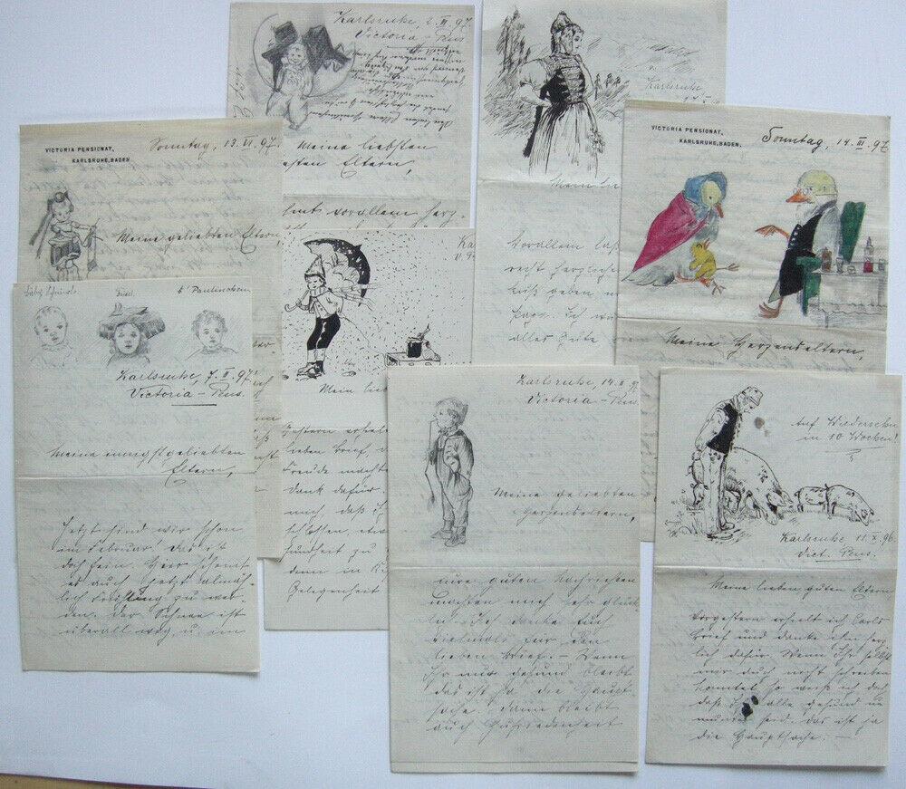 Sammlung von 24 illusrierten Briefen Pensionats-Schülerin Karlsruhe 1896-1897