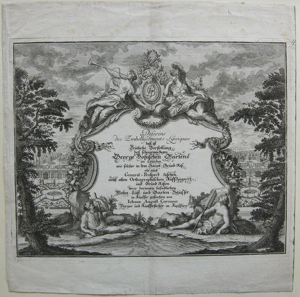 Leipzig G. Boßischer Garten prächtiger barocker Orig Kupferstich Corvinus 1728