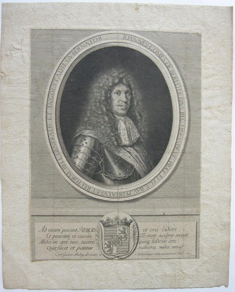 Joh. Graf Berlio de Brus (+1685) Gouverneur Ingolstadt Kupferstich Amling 1680