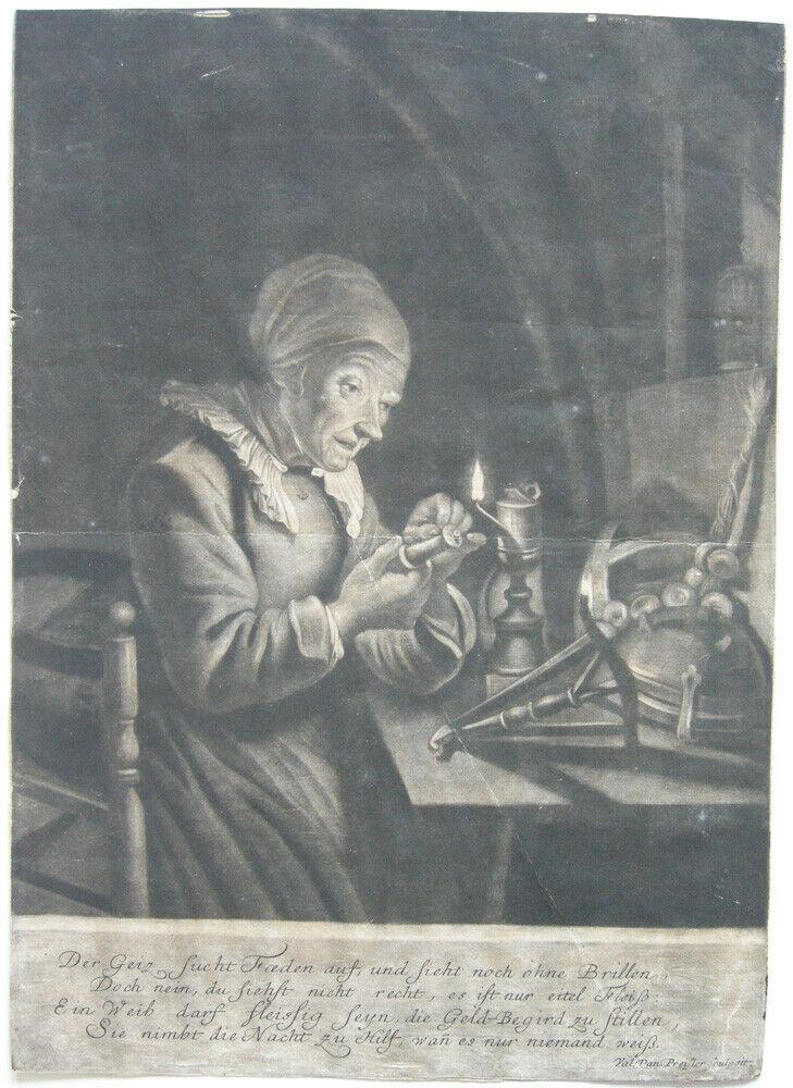 Val. Daniel Preißler (1717-1767) Der Geiz sucht Fäden Mezzotinta 1750