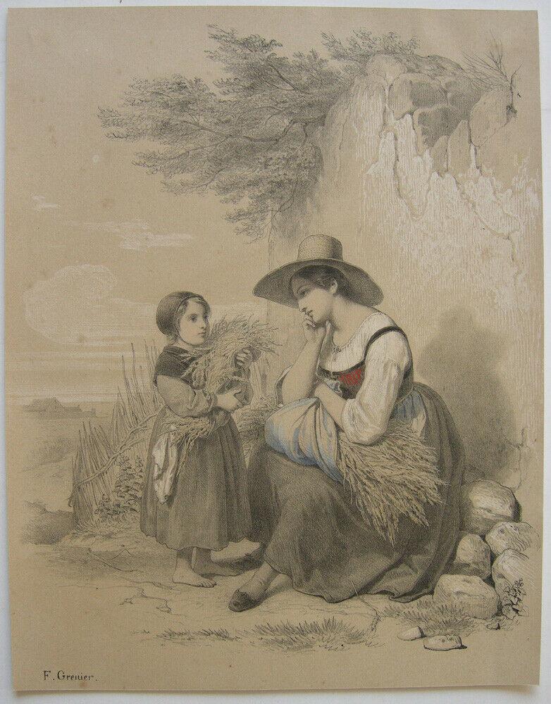 Francois Grenier (1793-1867) Kleine Erntehelferin Orig Lithografie um 1850