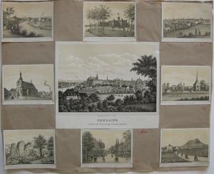 Görlitz Sachsen Gesamtansicht Detailansichten Orig Lithographie um 1840