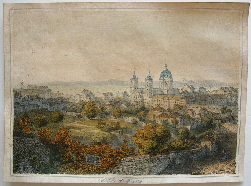 Melk Niederösterreich Stift Melk und Ortsansicht Orig Lithografie um 1840