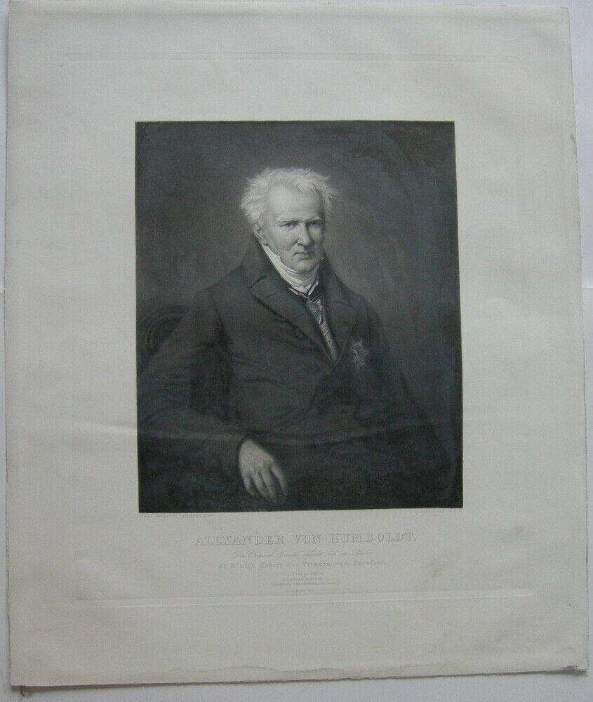 Alexander von Humboldt (1769-1859) Portrait Halbfigur Orig. Radierung 1850