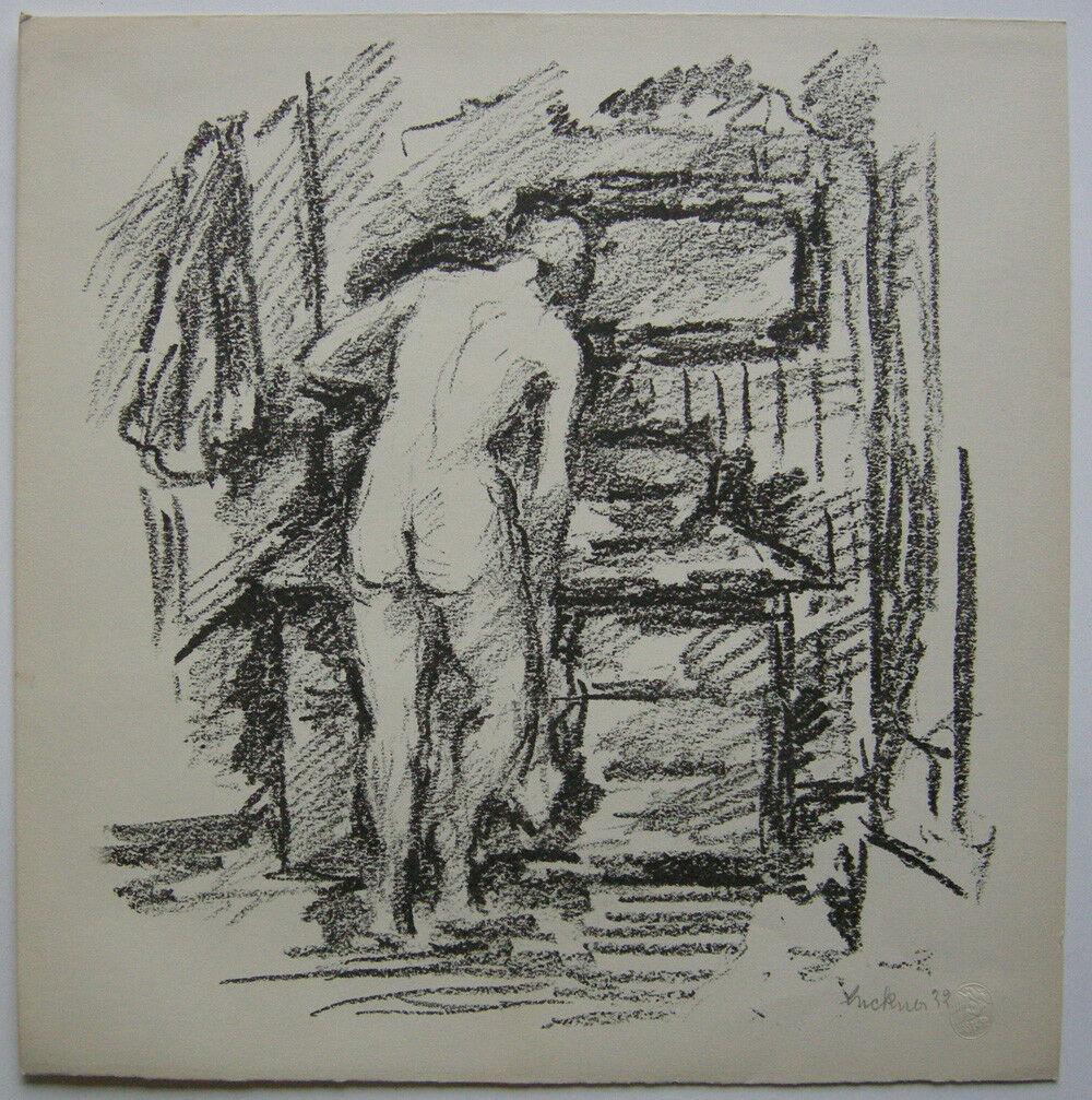 Heinrich von Luckner (1891-1970) Rückenakt Orig Lithografie 1922 signiert