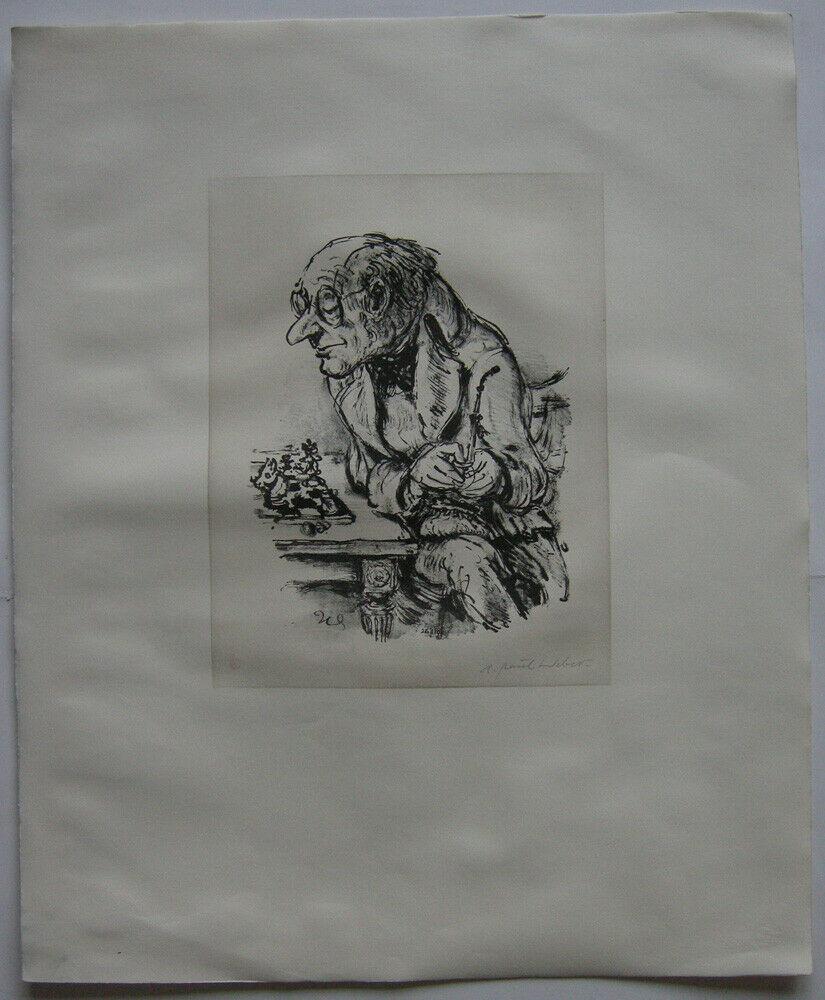 A. Paul Weber (1893-1980) Nächster Schachzug Orig Lithografie 1960 signiert