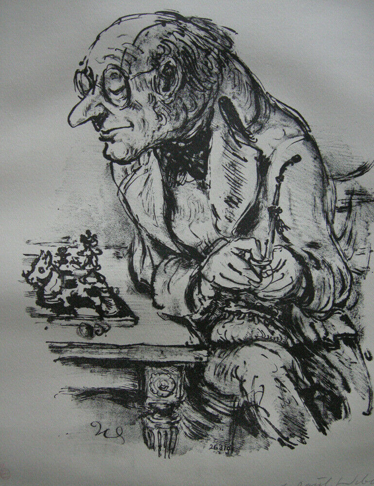 A. Paul Weber (1893-1980) Nächster Schachzug Orig Lithografie 1960 signiert 1