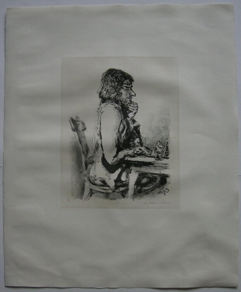 A. Paul Weber (1893-1980) Am Schachbrett Orig Lithografie 1960 signiert