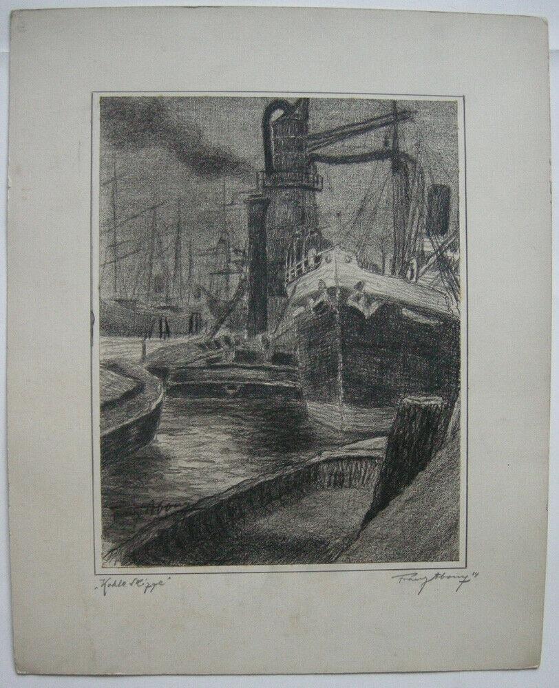 Franz Abony (?) Schiffe im Hafen Kohle Studie 1914 signiert Wien