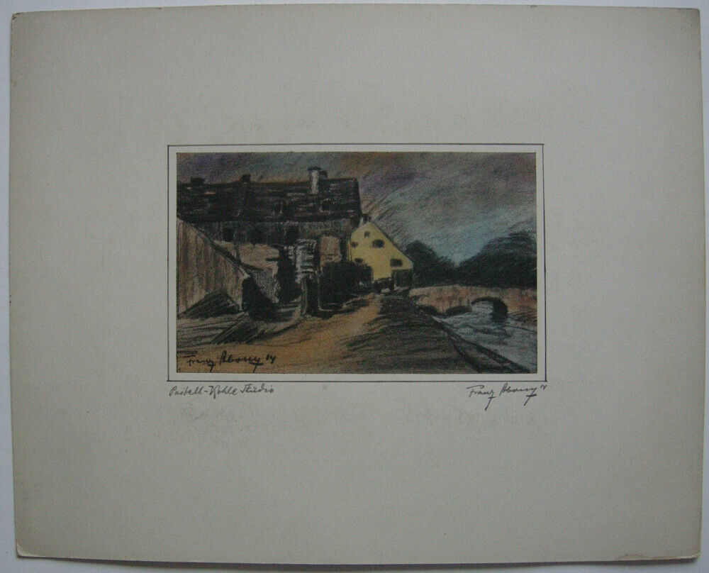 Franz Abony (?) Häuser am Fluss Pastell-Kohle Studie 1914 signiert Wien