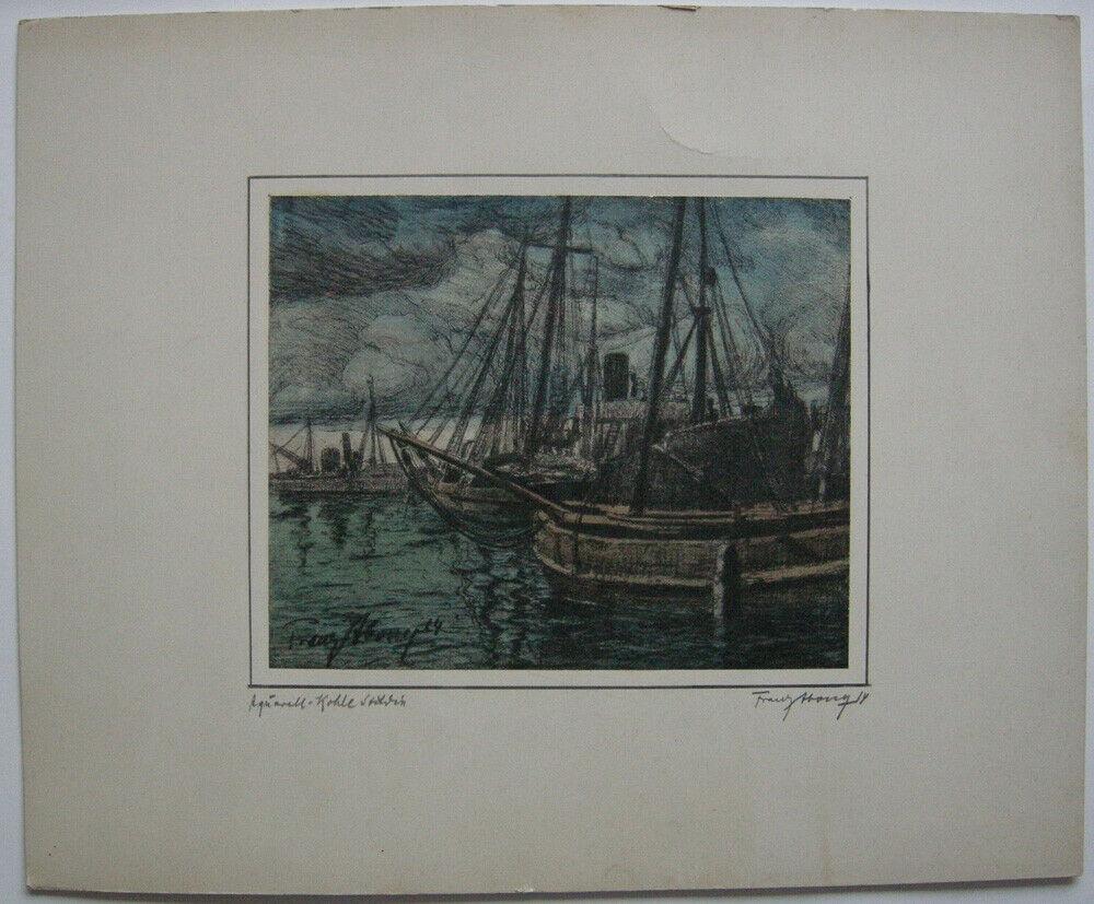 Franz Abony (?) Fischkutter im Hafen Pastell-Kohle Studie 1914 signiert Wien