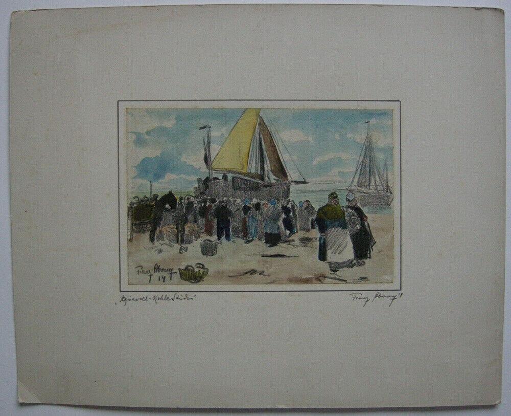 Franz Abony (?) Schiffe und Menschen am Stran Pastell-Kohle Studie 1914 signiert